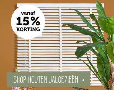 Houten jaloezieën - 15% korting